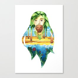 Summer coconut girl landscape Canvas Print