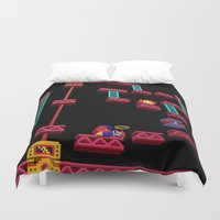 donkey kong Duvet Covers featuring Inside Donkey Kong stage 3 by Metin Seven