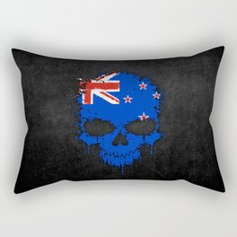 Flag of New Zealand on a Chaotic Splatter Skull Rectangular Pillow