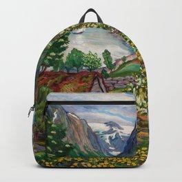 Alpine Lake Landscape, 'Girl, Springtime & Marigolds' by Nikolai Astrup Backpack
