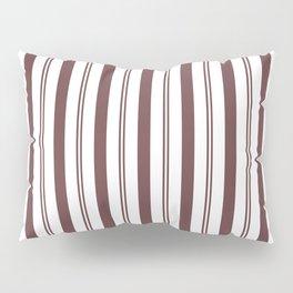 Pantone Red Pear & White Wide & Narrow Vertical Lines Stripe Pattern Pillow Sham