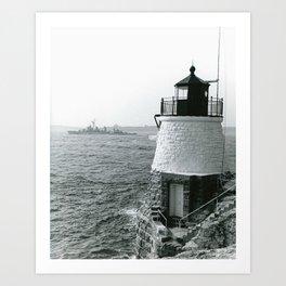 Castle Hill with Destroyer, Rhode Island Art Print