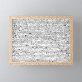 White Washed Brick Wall - Light White and Grey Wash Stone Brick Framed Mini Art Print