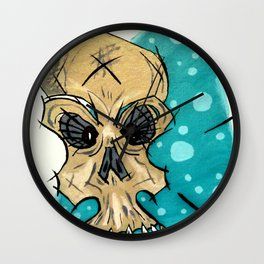 Retro Skull and Polka Dots Wall Clock