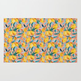 Lucky Lemons Watercolor Fruit Pattern in Peach and Yellow Rug