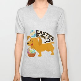 Dachshund Easter Funny For Boys Girls Love Dog Puppy Unisex V-Neck