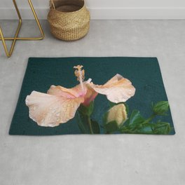 Pink Hibiscus Flower with rain drops Rug
