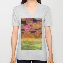Peace in the Storm - Abstract Bronze Tranquility Unisex V-Neck