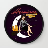 hermione Wall Clocks featuring Hermione the Teenage Witch by HuckBlade