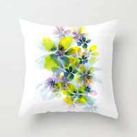 fireworks Throw Pillows featuring Fireworks by La Rosette Illustration