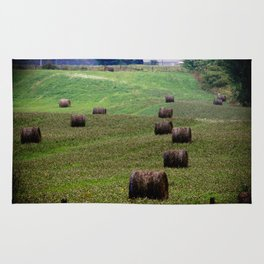 Rolls of Hay Canadian Countryside Green and Brown Print Rug