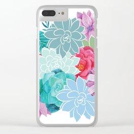 Flowers Succulents Floral Art Clear iPhone Case