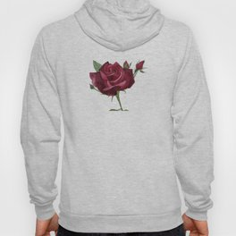 Deep Crimson  Watercolour Rose Hoody
