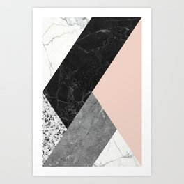 Black and White Marbles and Pantone Pale Dogwood Color Art Print