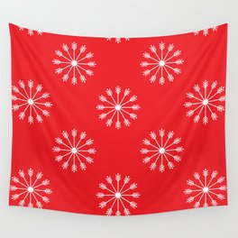 Snowflakes - red and white Wall Tapestry