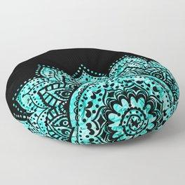Black teal mandala Floor Pillow