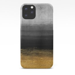 Black and Gold grunge stripes on modern grey concrete abstract background - Stripe -Striped iPhone Case