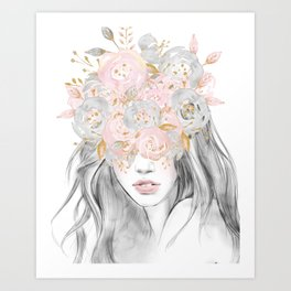 She Wore Flowers in Her Hair Rose Gold by Nature Magick Art Print
