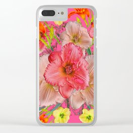 YELLOW PINK & CREAM DAYLILIES COLLAGE Clear iPhone Case