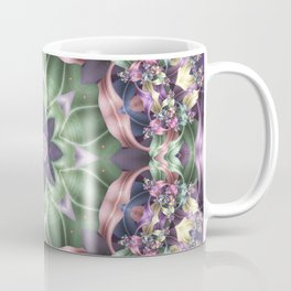 Fractal Ribbon Mandala in Purple, Green, Pink and Yellow Coffee Mug