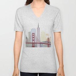 San Francisco skyline poster Unisex V-Neck