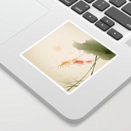 Koi fishes in lotus pond Sticker