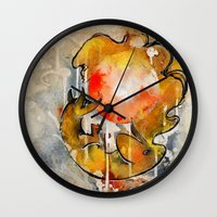 sun and moon Wall Clocks featuring Sun & Moon by Rubis Firenos
