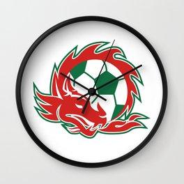 Welsh Dragon Soccer Ball Wall Clock