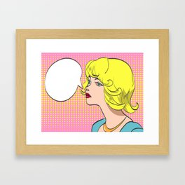 Vector colorful pop art drawing of beautiful woman with speech bubble Framed Art Print