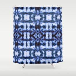 Blue Oxford Shibori Shower Curtain