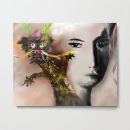 Dragon(loong) and woman Metal Print
