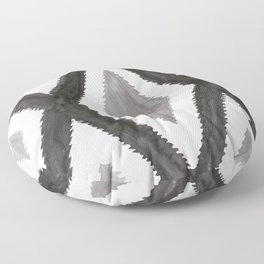 Del Rio Watercolor in Black and White Floor Pillow