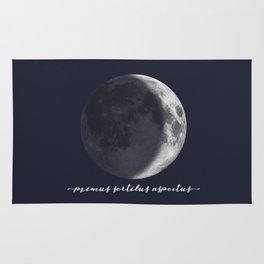 Waxing Crescent Moon on Navy Latin Rug