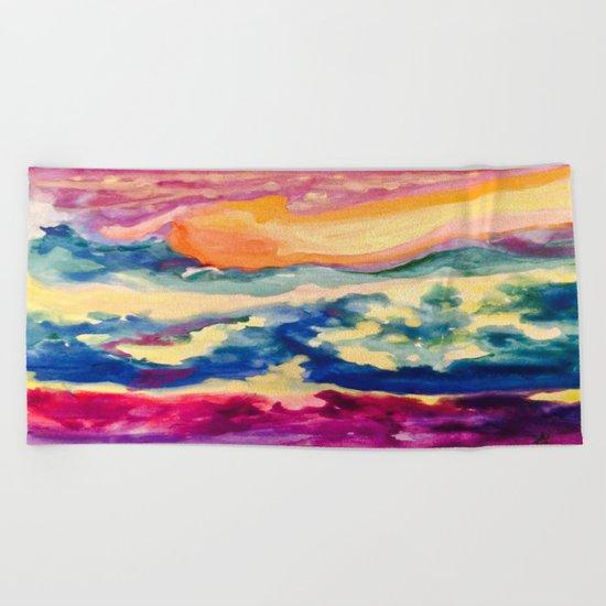 My Starry Watercolor Night Beach Towel