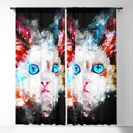 cute cat blue eyes splatter watercolor Blackout Curtain