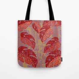 Hawaiian Lava Leaves Tapa Print Tote Bag