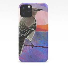 Mockingbird on a Wire Fence In The Sunset Watercolor Art iPhone Case