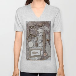 Beach Findings Rustic Nautical Collage Unisex V-Neck