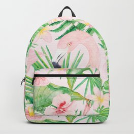 My pink Flamingo and Palm Leaves Aloha Tropical Jungle Garden Backpack