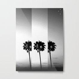 Vintage Palm Trees in Black & White Metal Print