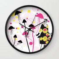 mushroom Wall Clocks featuring Mushroom by Emilie Ramon