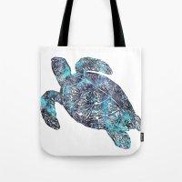 sea turtle Tote Bags featuring Sea Turtle by LebensART