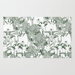 just goats dark green Rug