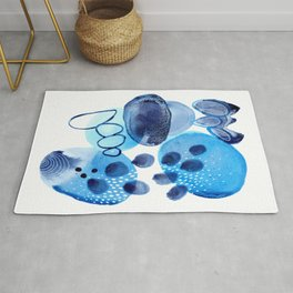 Study in Blue - Abstract Watercolor Painting Rug