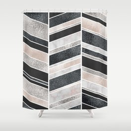 Shimmering Chevron Pattern - white pearl marble, silver and black Shower Curtain