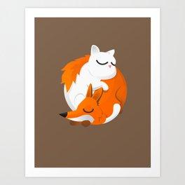 Fox and cat Art Print