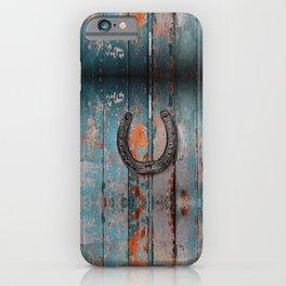 GOOD LUCK - horseshoe on barn wood  iPhone Case