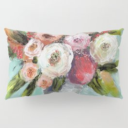 Peach and White Roses Pillow Sham