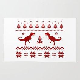 Christmas ugly sweater pattern dinosaur Rug