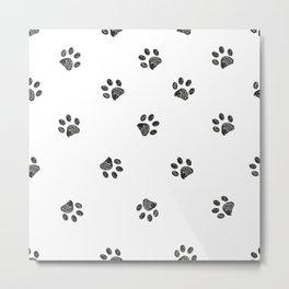 Black doodle paw prints seamless pattern Metal Print